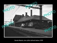 OLD POSTCARD SIZE PHOTO OF SARNIA ONTARIO CANADA THE RAILWAY STATION c1950