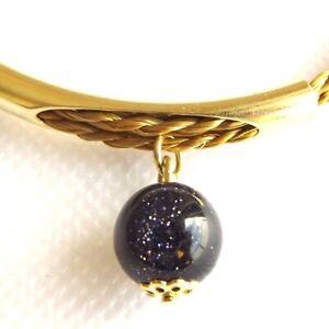 CAPIM ORO VEGETABLE GOLD BRACELET GOLD PLATED BLUE GOLDSTONE STRANDS ADJUSTABLE