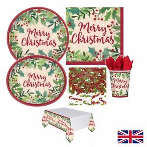Happy Holly Day Traditional Xmas Party Set Plates, Cups Decoration Christmas