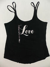 "Victorias Secret Sleep Cami Top Double Strap Black ""Love"" Graphic Large #2378"