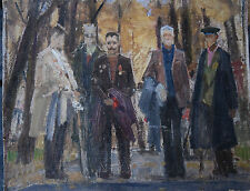 Antique 1985 Original Russian painting USSR oil on cardboard Sergey G. SKETCHES