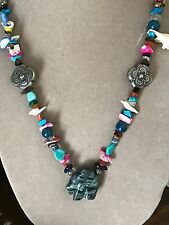 VINTAGE HANDCRAFTED NATIVE AMERICAN MULTI STONE HEISHI AND FETISH NECKLACE