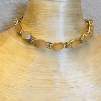 VTG High End Estate Gold Thermoset Lucite Necklace Statement Choker 1950s