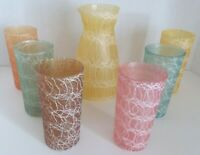 Retro Mid Century Glass Pitcher 6 Glasses Spaghetti String Excellent Condition