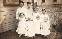 Vtg 1910's RPPC Photo of Children Dressed for Church Postcard