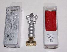 Vintage Silver French Fleur De Lis Wax Seal Sealing Stamp & Red Silver Wax NIB