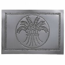 Country new punched gray tin Wheat cabinet panel / 10H X 14W