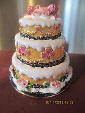 WEDDING CAKE ~ ENAMEL JEWELED TRINKET BOX  #3711