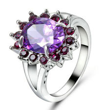 Purple Amethyst Wedding Ring CZ white Rhodium Plated Women's Jewellery Size 8