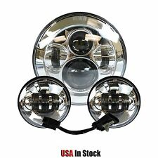 """7"""" Chrome LED Projector Daymaker Headlight + Passing Lights For Harley Touring"""