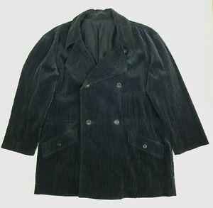 ISSEY MIYAKE Mens Corduroy Pea Coat M Grey Drawstring Waist Button Pocket Cotton