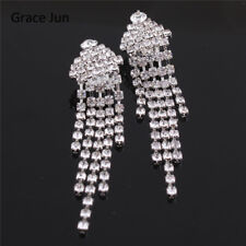 18K WHITE GOLD PLATED AUSTRIAN CRYSTAL TASSEL DANGLE STATEMENT CLIP-ON EARRINGS