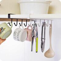 New Under-Cabinet Hanger Rack (6 Hooks) Kitchen Cupboard Storage Shelf Hook