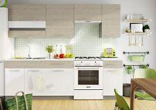 Küche 240cm Schränke, Küchenzeile Picard -  Weiss glanz -  Neu&Schnell