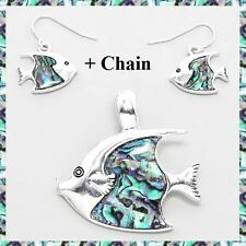 """Abalone Silver Fish Nautical Pendant Earrings Set Necklace With 23"""" Chain"""