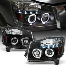Bk Headlamps For 2004-2015 Titan Armada LED Halo Projector Headlights Left+Right
