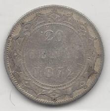 NEWFOUNDLAND,  CANADA, 1872-H,  20 CENTS,  SILVER,  KM#4