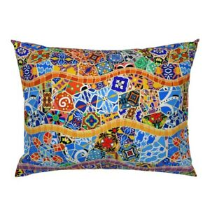 Traditional Spanish Tiles Barcelona Bohemian Boho Mosaic Pillow Sham by Roostery