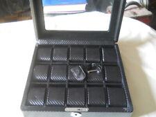 Carbon Fiber Watch Box Storage Chest Case with Lock & Key 15 Slots