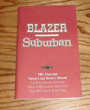 Original 1981 Chevrolet Blazer & Suburban Owners Operators Manual 81 Chevy