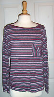 New $62 MICHAEL STARS BOAT NECK RED GRAY STRIPED LONG SLEEVED SHIRT TOP ONE SIZE