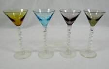 Vintage Colored Cone Shaped Cordial Glasses With Spiral Twisted Stems Set Of 4