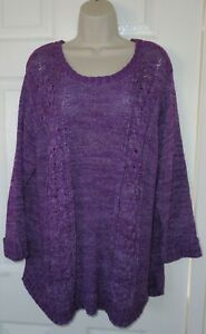 Womens🦋BHS🦋purple mix stretch cable knit jumper size 22
