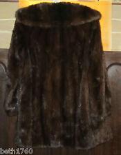 BLACKGLAMA FINEST FUR DARK BROWN RANCH MINK COAT JACKET FULL STROLLER LENGTH M