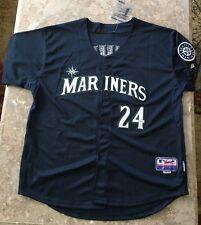 Ken Griffey Jr. Majestic Performance Apparel Cool Base Jersey-Blue Size 54-NEW