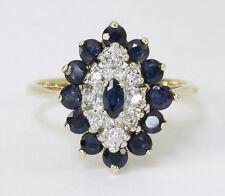 Diamond sapphire halo ring 2 tone gold round marquise 1.45CT size 6 birthstone!!