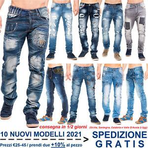 Pantaloni Jeans da Uomo Denim a Vita Bassa alla Moda per Casual Regular Slim Fit