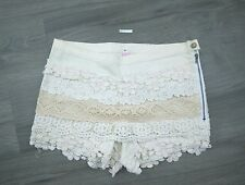 Lace Shorts Womens M Medium White Tan Cute Korean Japanese Fashion A1