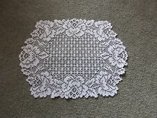 N White lace Cottage Rose design Doily 19 x 14