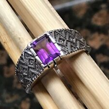 Natural 2ct Purple Amethyst 925 Solid Sterling Silver Emerald Cut Men's Ring 11