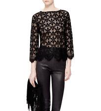 FRAME Shirt Womens Black Sheer Lace Blouse Top Size M Geometric Floral
