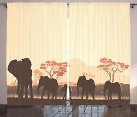 African Curtains Safari Animal Elephant Window Drapes 2 Panel Set 108x90 Inches