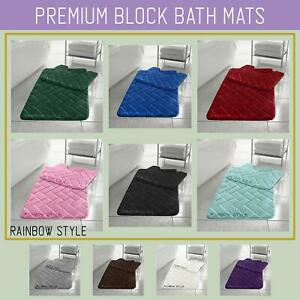 Blocks Memory Foam Bath Mat Set 2PCS Non Slip Pedestal Toilet Bathroom Rug Set