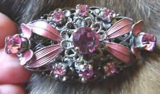 Czech Stamped Filigree Gurtler Brooch Sm30 Art Deco Gablonz Pink Glass Enamelled