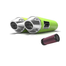 HMF Can-Am Maverick XDS Turbo 15 - 17 Venom Green/Pol Dual Slip On Exhaust + KN