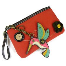 Pal Clutch, Orange with Hummingbird Charm / Key Fob, Zipper Closure