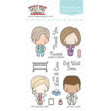 GET WELL SOON-The Greeting Farm Clear Stamp-Craft Stamping-Anya&Ian-Doctor/Nurse