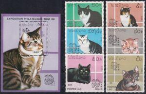 F-EX19435 LAOS MNH 1989 CATS GATOS DOMESTICS FELINES SET INDIA PHILATELIC EXPO