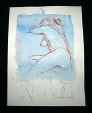 Hawaii Mixed Media Wash Painting Seated Female Nude Snowden Hodges (Sho)#143