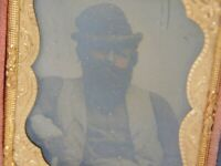 Antique Cased Tinted Tin Type Photo of Western Looking Man Heavy Beard