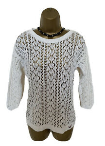SEXY JUMPER TOP by HOLLISTER M UK 12-14 VGC WHITE STRETCHY COTTON SEE THROUGH