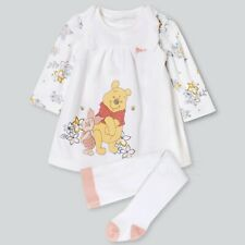 Baby Girl Disney Winnie the Pooh White 3 Piece Set, Dress Top Tights Outfit