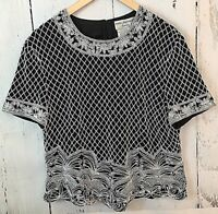 PAPELL BOUTIQUE EVENING Women's Stunning Black Silk Heavily White Beaded Top XL