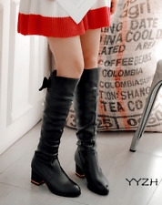 New Women Round Toe Knee Boots Block Chunky Mid Heels Sweat Bowknot Casual Shoes