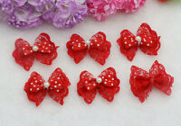 20-50PCS Red Double Layer Lace Bows Satin Ribbon Appliques Bow knot Flowers