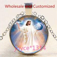 Vintage Saint Jesus Cabochon Tibetan silver Glass Chain Pendant Necklace #4955